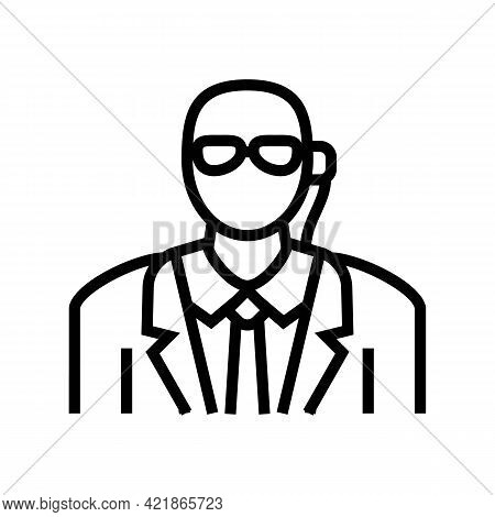 Private Security Line Icon Vector. Private Security Sign. Isolated Contour Symbol Black Illustration