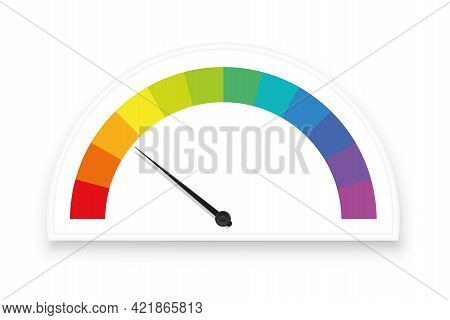 Rainbow Colored Gauge, Speedometer With Colorful Scale Fields, Subdivisions As Rating Indicators, Me