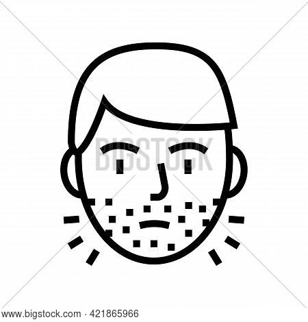 Hairy Face Man Line Icon Vector. Hairy Face Man Sign. Isolated Contour Symbol Black Illustration