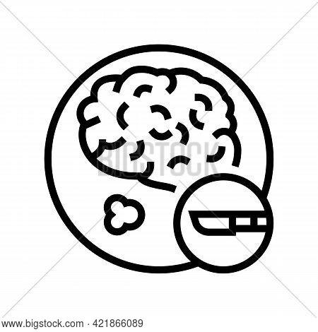 Surgical Operation Brain Stroke Treatment Line Icon Vector. Surgical Operation Brain Stroke Treatmen