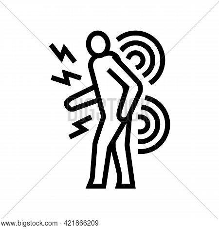 Human Back Stroke Line Icon Vector. Human Back Stroke Sign. Isolated Contour Symbol Black Illustrati