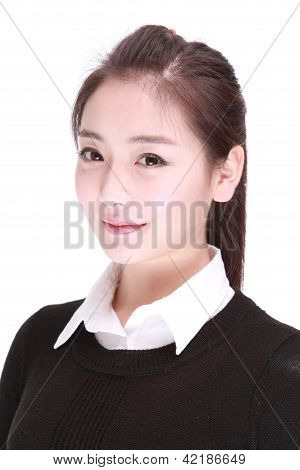 A Beautiful Girl Isolated On A White Background.