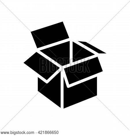 Carton Box Glyph Icon Vector. Carton Box Sign. Isolated Contour Symbol Black Illustration