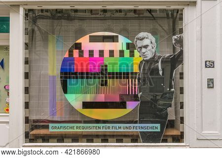 Hamburg, Germany, June 17, 2020: Window Front Of A Shop For Graphic Props, Hamburg, Germany