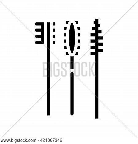 Brushes Set For False Eyelashes Applying Glyph Icon Vector. Brushes Set For False Eyelashes Applying
