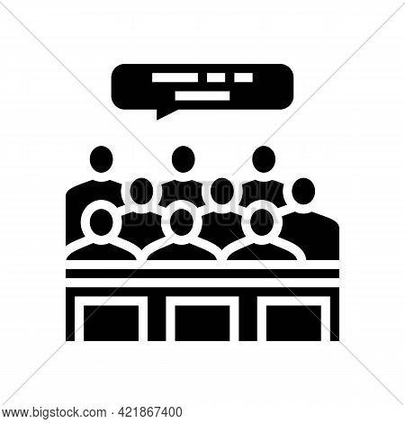 Trial Jury Glyph Icon Vector. Trial Jury Sign. Isolated Contour Symbol Black Illustration