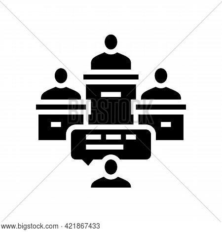 Litigation Law Procedure Glyph Icon Vector. Litigation Law Procedure Sign. Isolated Contour Symbol B