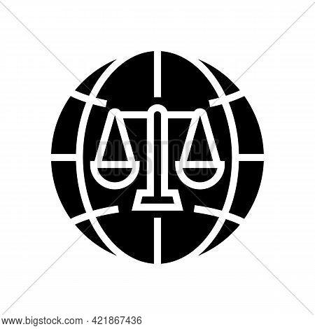 International Jurisprudence Glyph Icon Vector. International Jurisprudence Sign. Isolated Contour Sy