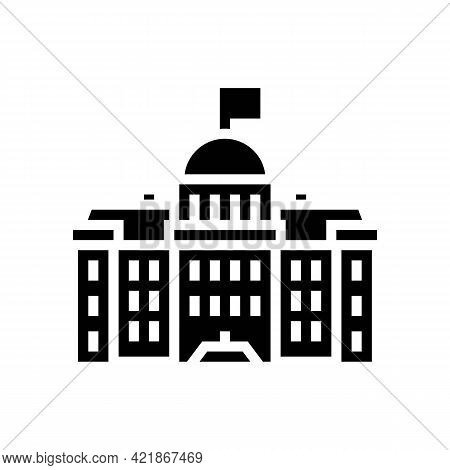 Government Building Glyph Icon Vector. Government Building Sign. Isolated Contour Symbol Black Illus