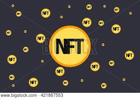 Nft Nonfungible Tokens Infographics With Gold Isometric Coins On Dark Background. Pay For Unique Col