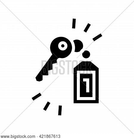Key Of Apartment Motel Glyph Icon Vector. Key Of Apartment Motel Sign. Isolated Contour Symbol Black