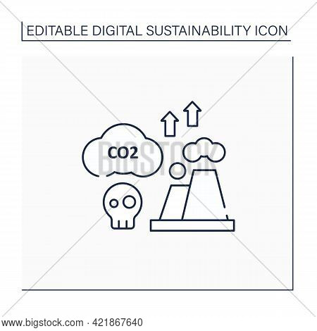 Greenhouse Gas Emission Line Icon. Fossil Fuels Combustion. Negative Impact On Environment.digital S