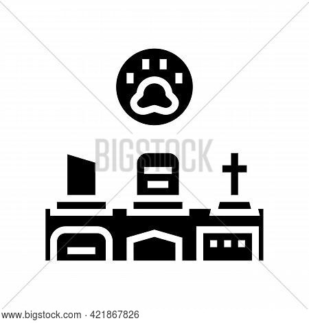 Cemetery Pet Glyph Icon Vector. Cemetery Pet Sign. Isolated Contour Symbol Black Illustration