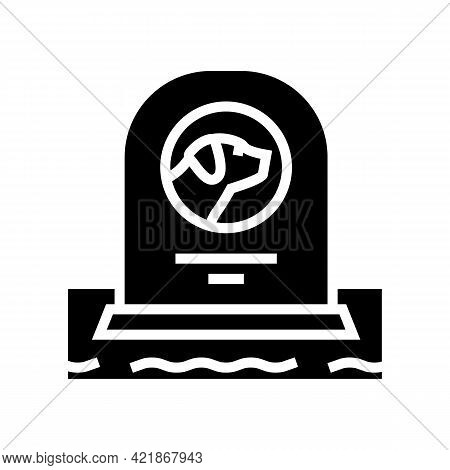 Dog Dead Pet Monument Glyph Icon Vector. Dog Dead Pet Monument Sign. Isolated Contour Symbol Black I