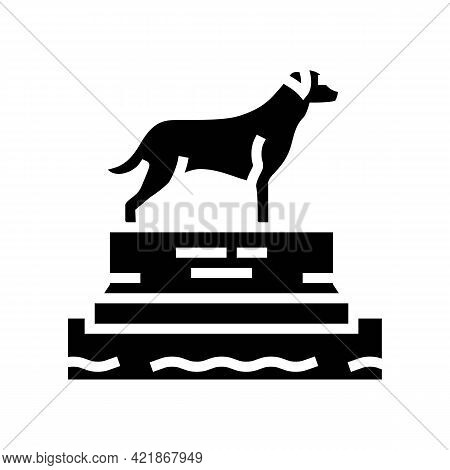 Dead Dog Pedestal Glyph Icon Vector. Dead Dog Pedestal Sign. Isolated Contour Symbol Black Illustrat