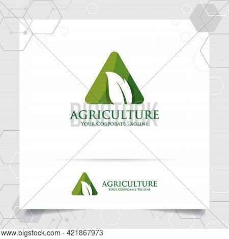 Agriculture Logo Design With Concept Of Letters A Icon And Leaves Vector. Green Nature Logo Used For