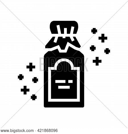 Dry Glass Bottle Phytotherapy Glyph Icon Vector. Dry Glass Bottle Phytotherapy Sign. Isolated Contou