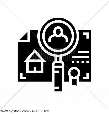 Checking Tenant Recommendations Glyph Icon Vector. Checking Tenant Recommendations Sign. Isolated Co