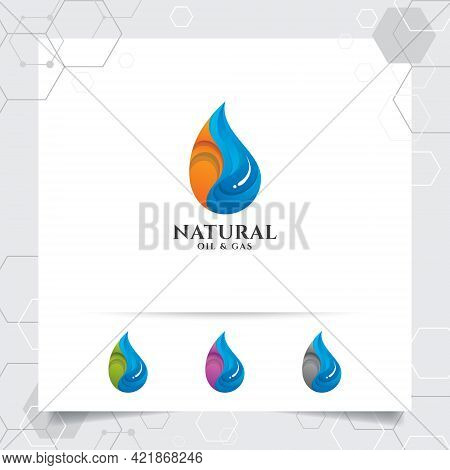 Oil Gas Logo Design Vector With Concept Of Fire Blazing And Oil Droplets Icon For Mining Industry An