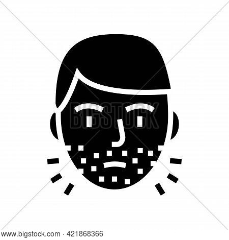 Hairy Face Man Glyph Icon Vector. Hairy Face Man Sign. Isolated Contour Symbol Black Illustration