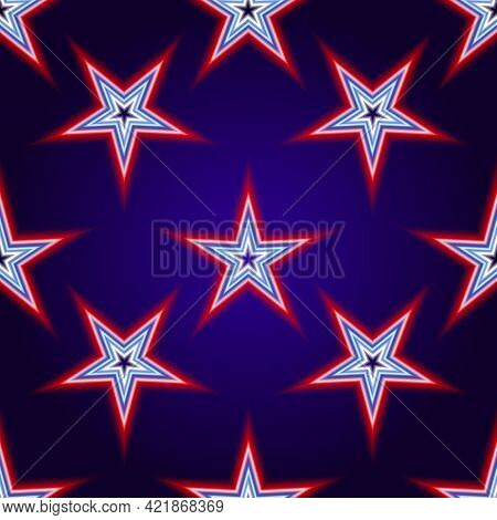 Vector Pattern Of Neon Stars Composed Of Several Lines Of Red, Blue And White, On A Dark Blue Backgr