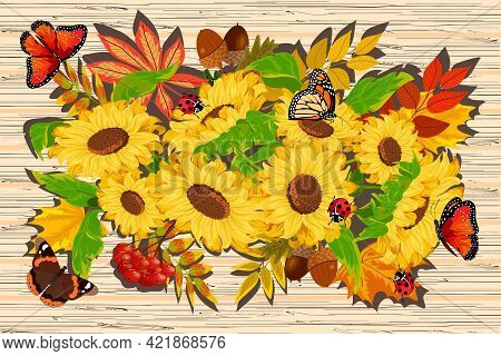Sunflowers And Autumn Leaves In Illustration.sunflowers, Autumn Leaves And Insects On A Wooden Backg