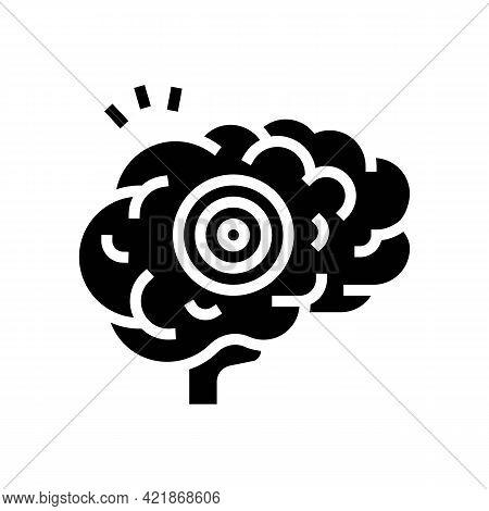 Brain Pain Glyph Icon Vector. Brain Pain Sign. Isolated Contour Symbol Black Illustration