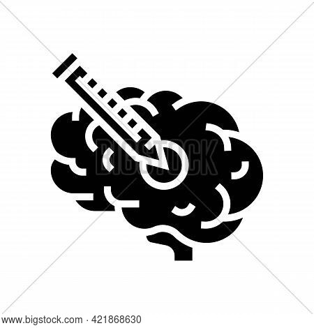 Injection In Brain Glyph Icon Vector. Injection In Brain Sign. Isolated Contour Symbol Black Illustr