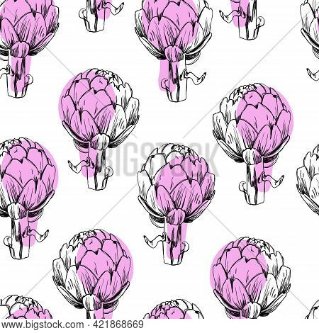 Artichoke Sketch Seamless Pattern. Drawn Artichokes Isolated On White Background. Abstract Colored S