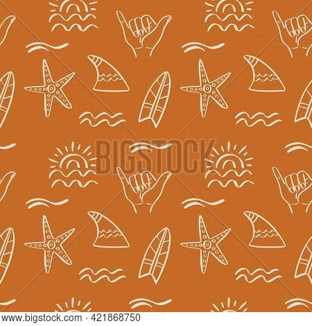 Tropical Beach Summer Seamless Pattern. Surfing Hawaiian Exotic Background