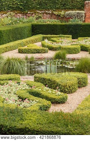 Clipped Box Hedge (buxus) In A Formal Geometric English Garden With Pond And Fountain, Uk