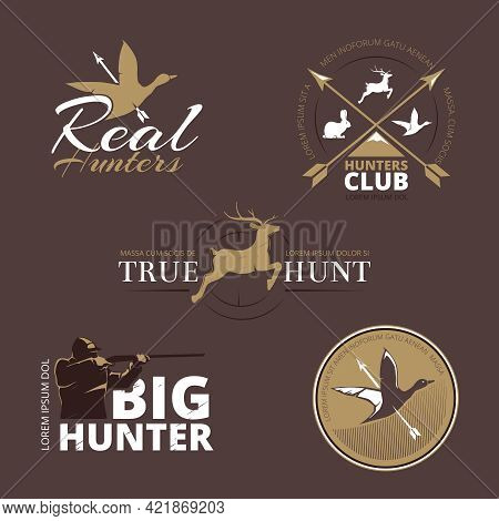 Vector Labels With Duck, Deer, Hare, Gun And Hunter. Hunt With Gun, Hunt Duck, Emblem Hunting, Logo