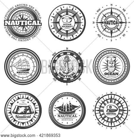 Vintage Monochrome Round Nautical Labels Set With Compass Hats Captain Ship Boat Map Anchor Lifebuoy