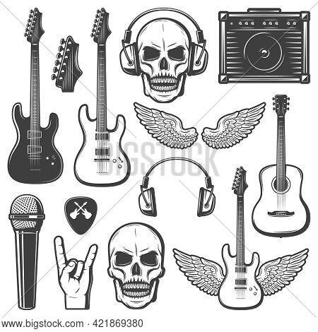 Vintage Rock Music Elements Set With Guitars Skull Amplifier Headphone Mediator Wings Microphone Han
