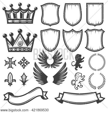Vintage Monochrome Heraldic Elements Collection With Crowns Shields Wings Lions Ribbons Laurel Wreat