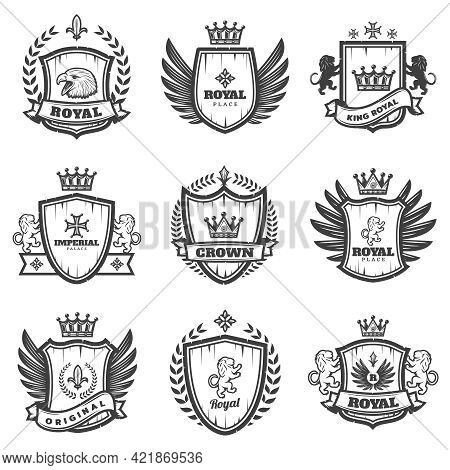Vintage Monochrome Heraldic Emblems Set With Ornate Coats Of Arms And Medieval Blazons Isolated Vect