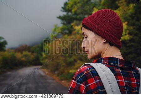 Happy Asian Girl Backpack In Road And Forest Background