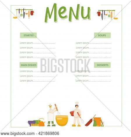 Menu, Cooks Are Cooking Dough On Kitchen In Restaurant. Funny Chef Women. Handwritten Lettering And