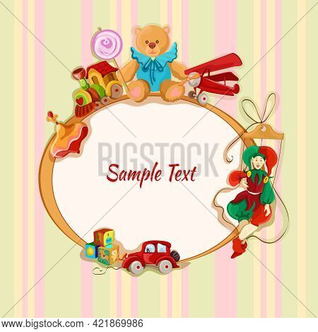 Vintage Baby Toys Sketch Frame Postcard With Peg Top Train Lollypop Teddy Bear Vector Illustration
