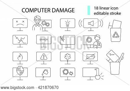 Computer Problems Outline Icons Set. Notebook Repairs. Computer Damage. Computer Repair Wizard. Cust