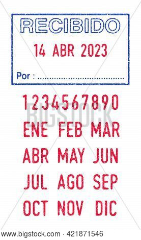 Vector Illustration Of The Spanish Words Recibido (received) And Por (by) In Blue Ink Stamp And Edit