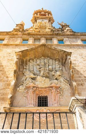 Valencia, Spain, April 17, 2021: Stone Altarpiece On The Back Facade Of The Royal Church Of Santos J