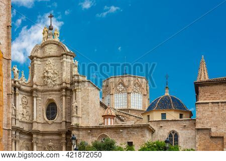 Valencia, Spain, April 17, 2021: Upper Part Of The Facade Of The Cathedral, The Octagonal Gothic Dom