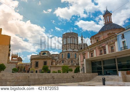 Valencia, Spain, April 17, 2021: Cathedral Back Side, Octagonal Gothic Dome, Windows And Translucent