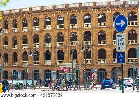 Valencia, Spain, April 17, 2021: Exterior Of Bullring, Built In 1861, Exposed Bricks, Viewpoints Or
