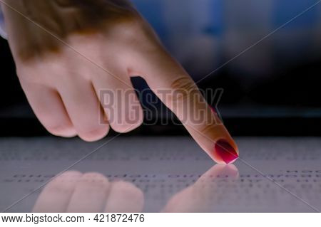 Close Up - Woman Hand Using Interactive Touchscreen Display Of Electronic Multimedia Terminal - Scro