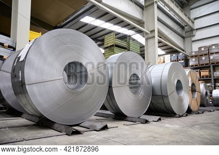 Rolls Of Steel Sheet In A Plant, Galvanized Steel Coil. High Quality Photo