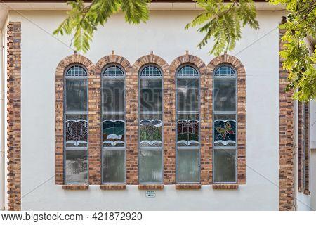 Schoemanshoek, South Africa - April 5, 2021: Windows Of The Dutch Reformed Church In Schoemanshoek I