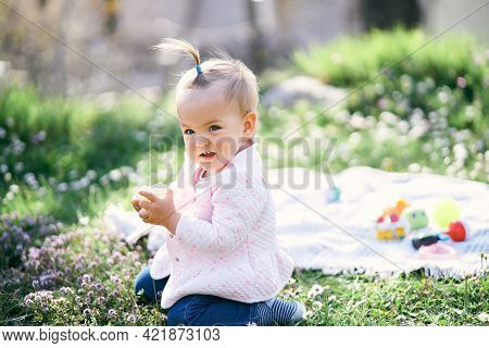 Little Girl With A Ponytail On Her Head Sits On A Green Lawn Among The Wildflowers And Holds A Cube