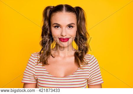 Portrait Of Young Pretty Cute Sweet Nice Smiling Cheerful Girl With Two Tails And Red Lipstick Isola